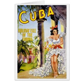 Cartão Ilha do feriado de Cuba do poster vintage dos