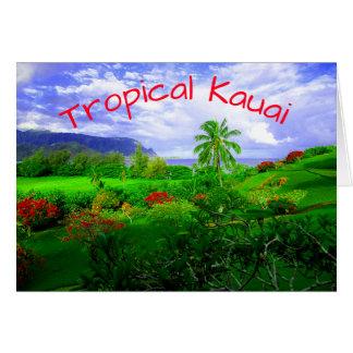Cartão Ilha havaiana tropical de Kauai