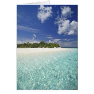 Cartão Ilha tropical cercada pela lagoa, Maldives,