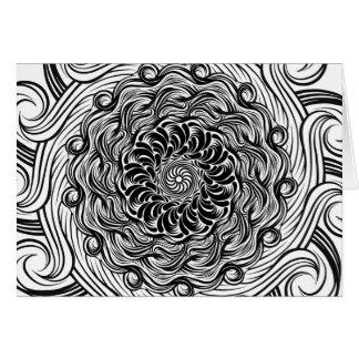 Cartão Ilusão óptica do Doodle ornamentado do zen preto e