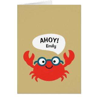 Cartão Ilustração bonito do caranguejo de Specky