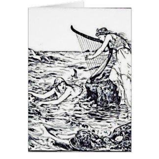 Cartão Ilustração celta do conto de fadas da sereia