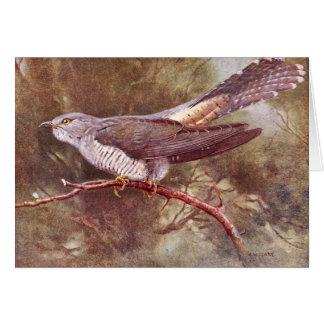 Cartão Ilustração cinzenta do vintage do cuco