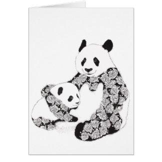 Cartão Ilustração da panda da mãe e do bebê