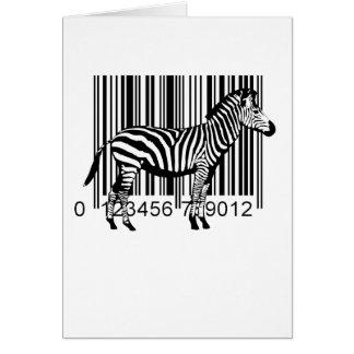 Cartão Ilustração da zebra do código de barras