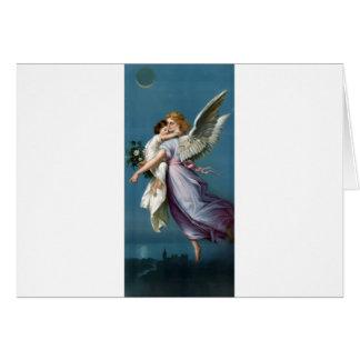 Cartão Ilustração do anjo e da criança do vintage