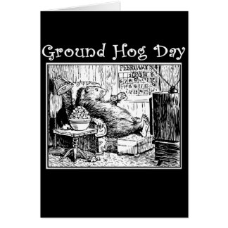 Cartão Ilustração do branco do preto do dia de Groundhog