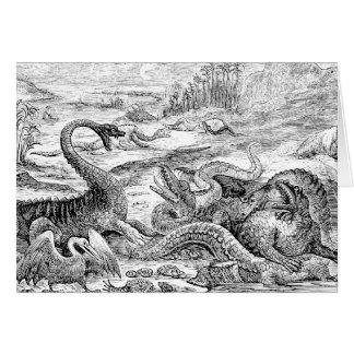 Cartão Ilustração do dinossauro dos 1800s do vintage -