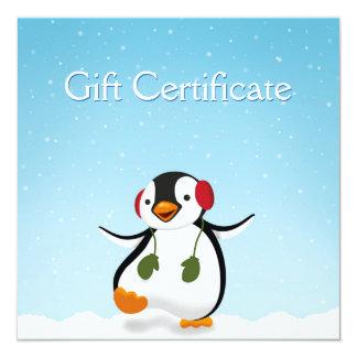 Cartão Ilustração do inverno do pinguim - certificado de