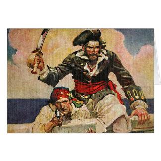 Cartão Ilustração do pirata e do companheiro do corsário