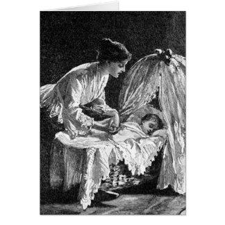 Cartão Ilustração do vintage da mãe e da criança
