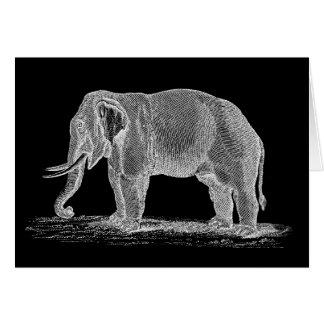 Cartão Ilustração dos 1800s do vintage do elefante branco