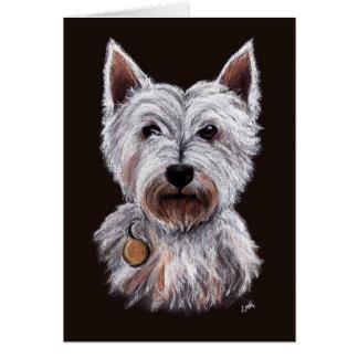 Cartão Ilustração ocidental do Pastel do cão de Terrier