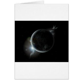 Cartão ilustração preta do planeta 3d no universo