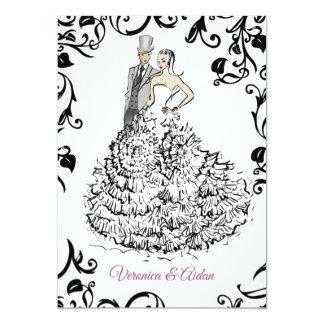 Cartão Ilustração preto e branco da forma do casamento