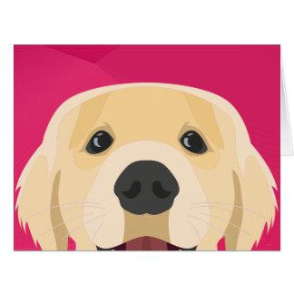 Cartão Ilustração Retriver dourado com fundo cor-de-rosa