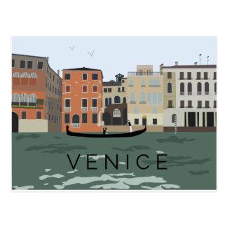 Cartão ilustrado da gôndola de Veneza