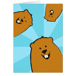 Cartão ilustrado feliz do dia de Groundhog