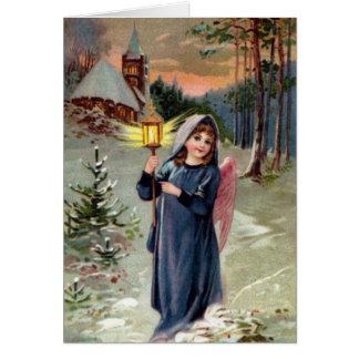 Cartão Imagem do vintage - anjo do Natal que ilumina a