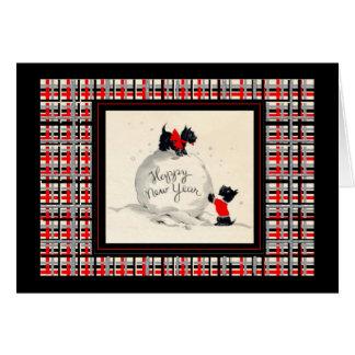 Cartão Imagem do vintage do feliz ano novo do cão do