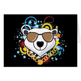 Cartão Imagem engraçada do urso polar do hip-hop