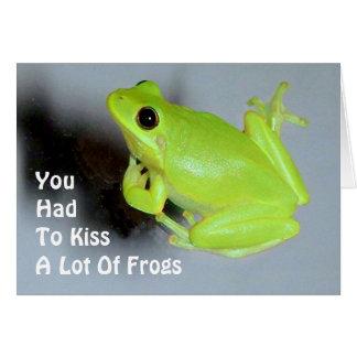 Cartão Imagem verde do sapo de árvore