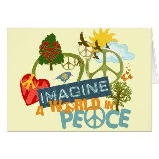 Cartão Imagine um mundo na paz