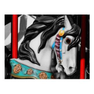 Cartão impetuoso do branco do preto do cavalo do