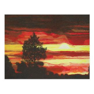 Cartão impetuoso do por do sol