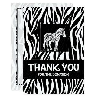 """Cartão Impressão 3,5"""" da zebra x 5"""" obrigado da doação"""