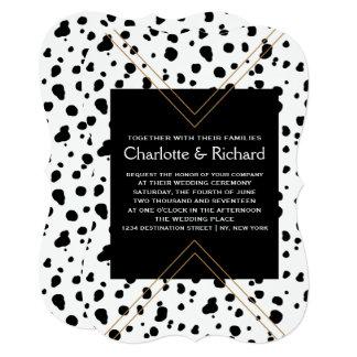 Cartão Impressão animal elegante Dalmatian preto & branco