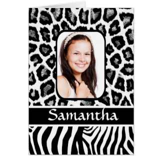 Cartão Impressão animal preto e branco personalizado