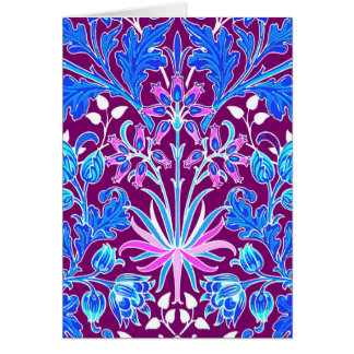 Cartão Impressão, Aqua e roxo do jacinto de William