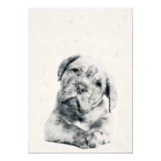 Cartão Impressão da aguarela 5x7 de Dogue de Bordéus