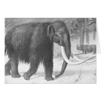 Cartão Impressão da antiguidade do Mammoth Woolly
