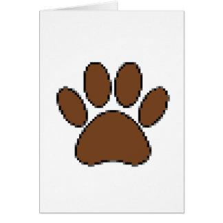 Cartão Impressão da pata do cão do pixel