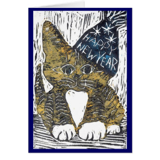 Cartão Impressão de bloco do gato do feliz ano novo