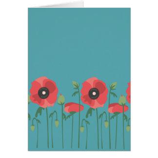 Cartão Impressão de florescência do campo da papoila