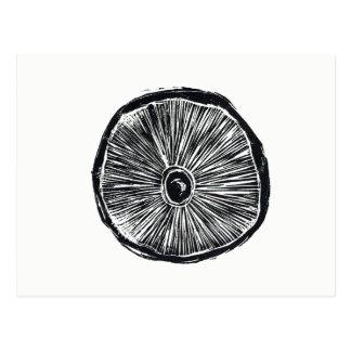Cartão - impressão de Lino do cogumelo