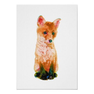 Cartão Impressão do berçário do Fox do bebê em 5x7