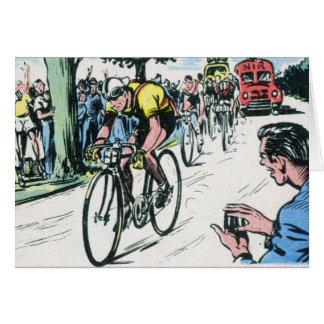 Cartão Impressão do ciclismo do vintage