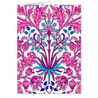 Cartão Impressão do jacinto de William Morris, rosa do