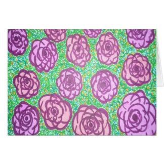 Cartão Impressão floral do jardim de rosas formal