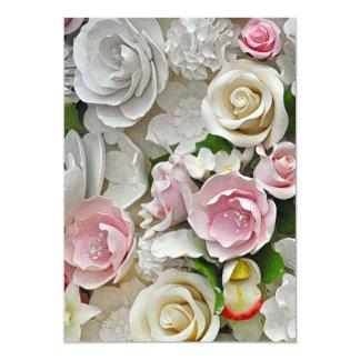 Cartão Impressão floral do rosa e o branco