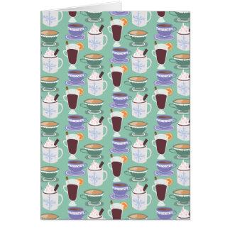 Cartão Impressão invernal morno das bebidas