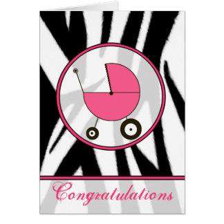 Cartão Impressão preto da zebra/parabéns cor-de-rosa do
