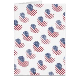 Cartão Impressão rústico do coração da bandeira americana