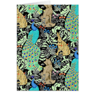 Cartão Impressão, turquesa & pontos mortos do pavão de