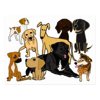 Cartão impressionante dos cães de filhote de cartão postal