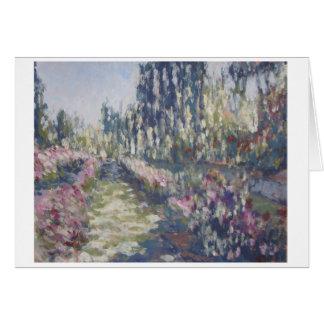 Cartão impressionista do jardim de rosas